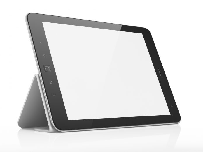 Black abstract tablet pc on tablet holder