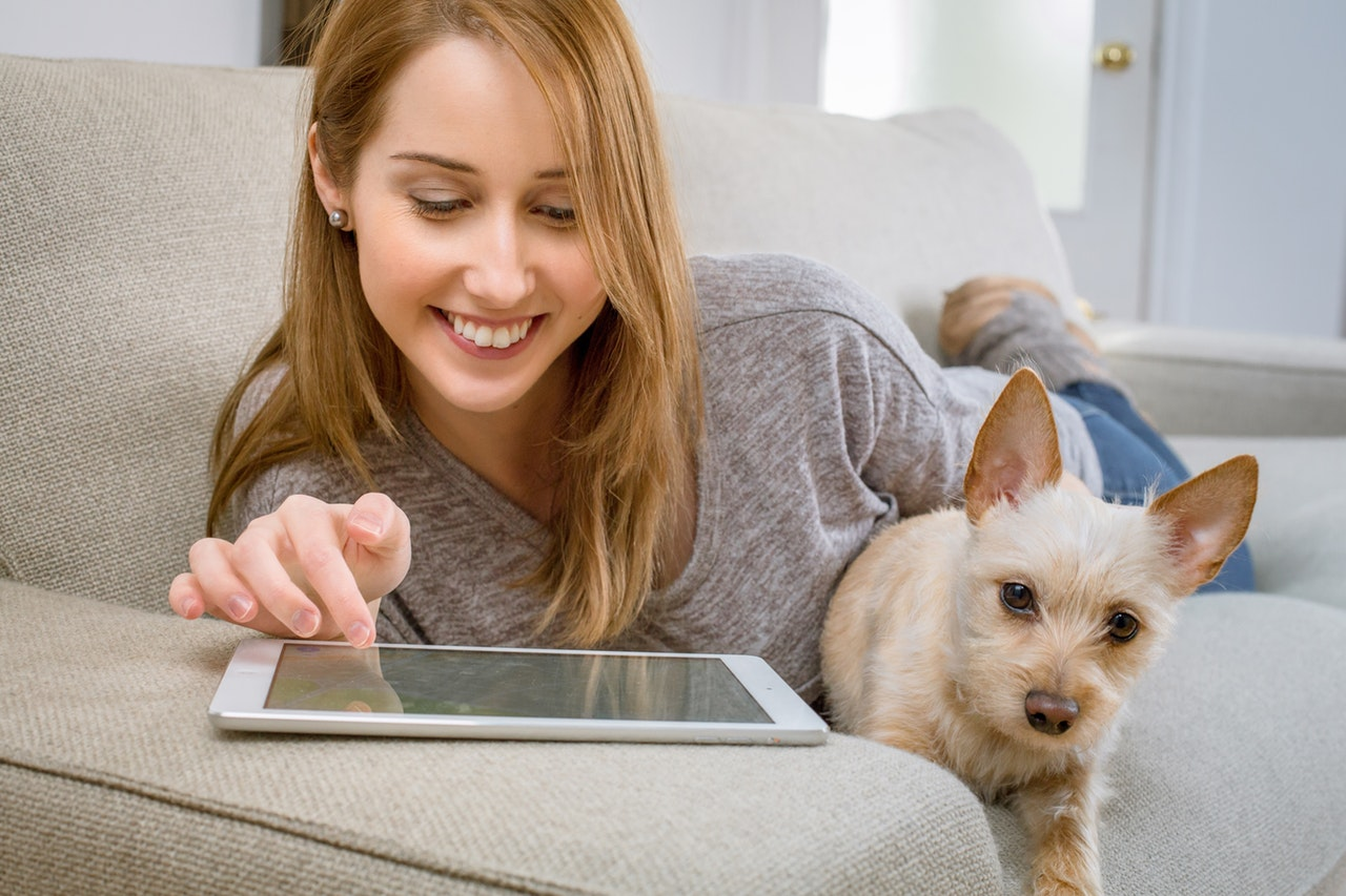 Woman with pet dog on livingroom using tablet