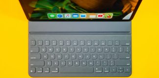Photo of a smart keyboard near an ipad